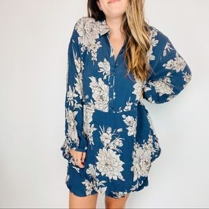 Free People floral henley balloon sleeve Dress